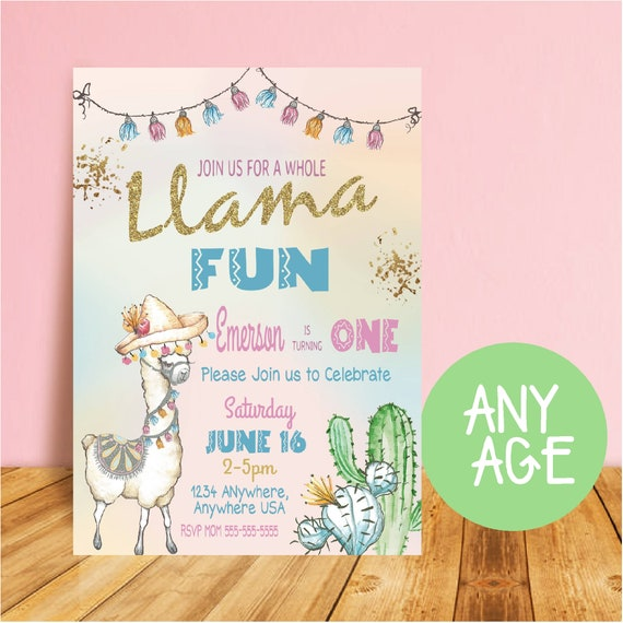 Llama birthday invitation fiesta birthday invitation zoo glitter il570xn stopboris Gallery