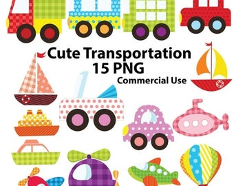 50% SALE Transportation clipart, cute transport, baby shower, polka dots cars, green truck, purple helicopter, airplane clipart, pink submar