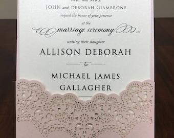 Lace Laser Cut Pocket/Jacket ONLY-  DIY Laser Cut Ivory Blush Shimmer Pocket - no inserts - Stacked Wedding Gala Event Program Laser Cut