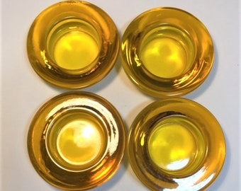 Amber Glass Votive Candle Holders