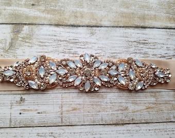 Wedding Belt, Bridal Belt, Sash Belt, Crystal Rhinestones,Opal , Rose Gold detail - Style B801273