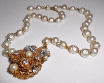 Original By Robert Necklace Baroque Pearls Rhinestones