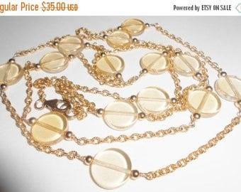 Gold Filled 14K Glass Disk Station Necklace