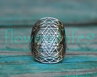 Sri Yantra ring II - Stainless Steel