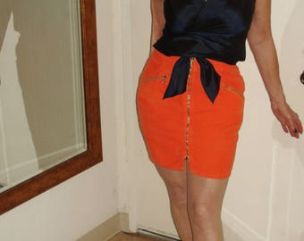 Benetton Bright Orange Corduroy MiniSkirt Exposed Full-Length Front Zip 10 Made in Italy