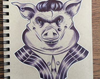 Mobster Pig Original Drawing