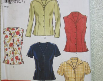 New Look 6598 Misses Size A 8-18 jacket and blouses.  6 sizes in 1.  Instructions in English, Francais and Espanol