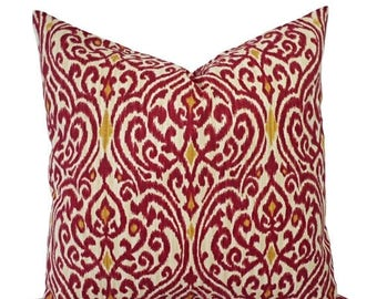 15% OFF SALE Two Ikat Pillow Covers - Red and Gold Ikat Throw Pillows - Red Pillow Cushion Cover - Maroon Pillows - Pillow Cover 18 x 18 - E