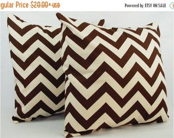 15% OFF SALE 2 Chevron Brown Throw Pillow Covers - Brown Pillows - Brown and Beige Couch Pillow Throw Pillow Cushion Cover - Brown Pillow Co
