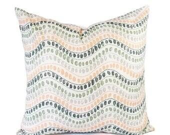 15% OFF SALE Two Peach Pillows - Green Throw Pillow - 16 x 16 Inch 18 x 18 Decorative Pillow - Pink Pillow Cover - Green Pillow - Grey Pillo