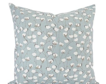 15% OFF SALE Two Decorative Pillows - Spa Blue Pillow Cover - Floral Pillow Cover - Modern Pillow Sham - Accent Pillow - Blue Throw Pillow -