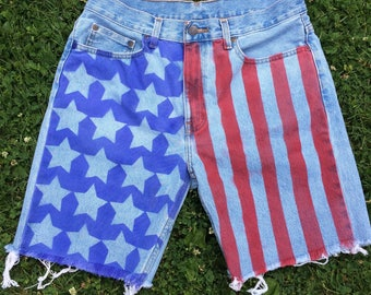 Bleached // American Flag Jean Shorts in Sapphire Blue