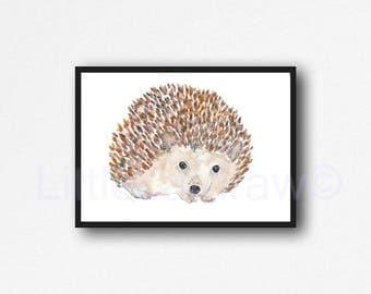 Hedgehog Watercolor Print Cuddly Hedgehog Print Woodland Animal Art Painting Print Hedgehog Lover Gift Wall Art Water color Wall Decor