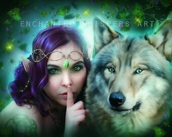 Fantasy Elf and wolf art print