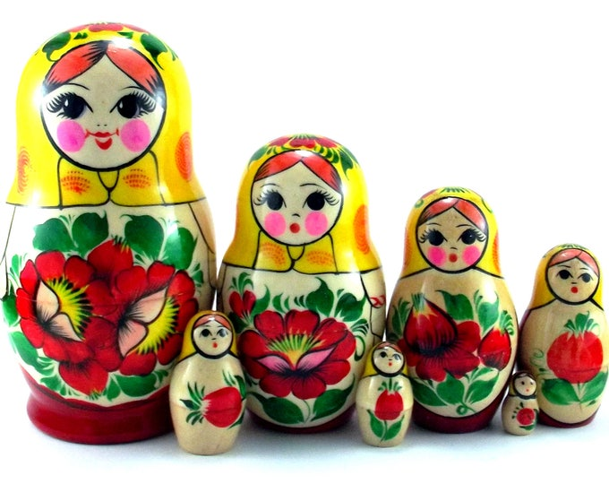 Nesting Dolls 7 pcs Russian matryoshka Babushka doll for kids set Wooden stacking authentic genuine toys Birthday gift for mom Rossiyanka