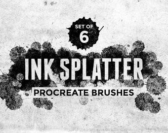 Ink Splatter Procreate Brushes - Set of 6 brushes - For the iPad app Procreate - Digital brushes - Ink brushes - Digital art resources