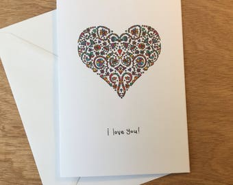 I Love you Card, A5 card, handmade card, heart card, heart, card for her, card for him, colourful A5 card