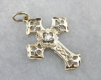 Lovely Vintage Diamond Cross, Bridal Jewelry, Religious Jewelry FZ4K26-D