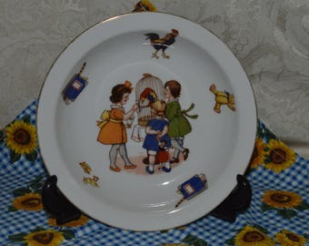 Children and birdcage porcelain bowl from Germany