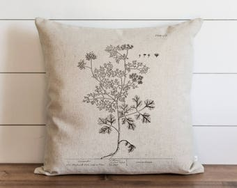 Botanical Coriander 20 x 20 Pillow Cover // Everyday // Herbs // Gift // Accent Pillow