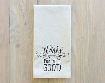 Give Thanks To The Lord Napkin_table setting, tableware, place setting, housewarming gift, party, dinner, event, thanksgiving, fall, Jesus
