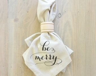 Be Merry Napkin (Style 2) _Christmas, table setting, tableware, place setting, housewarming gift, party, dinner, event