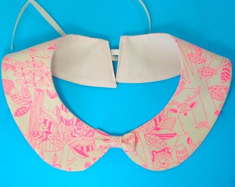 hot pink kawaii animals peter pan collar - detachable peter pan shirt collar - quirky accessories