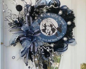 Halloween Wreath, Witch Wreath, Front Door Wreath, WITCHES DANCE Artificial Black Pine Trendy Halloween Front Door Wreath