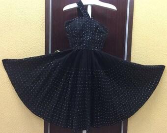 50s Black with Sequins Mexican Dress Maya de Mexico