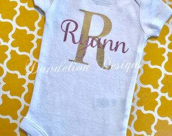 Baby Girl Shirt Personalized Name Initial Monogram Gold and Rose Gold Glitter Bodysuit 1st Birthday Girl Custom New Baby Shower