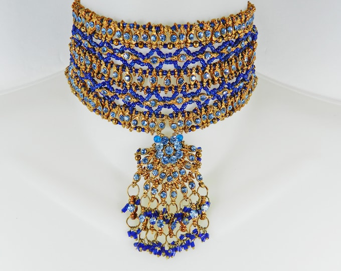Vintage WIDE Vintage Blue Gold Seed BEADED BIB Collar Necklace Tribal Bohemian Boho Chic Rare Big Statement Ethnic Bead Choker Gift for her