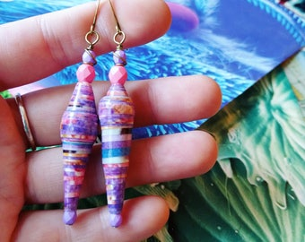 Pink and Purple Coral Molecule Paper Bead Color Drops