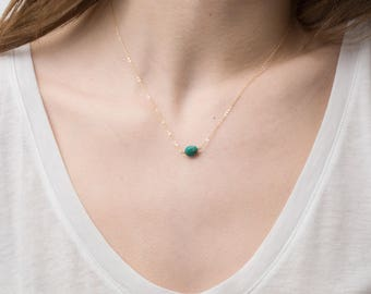 REAL Turquoise Necklace with Gold Fill, Sterling Silver or Rose Gold Fill / Delicate and Dainty Short Layering Necklace LN616