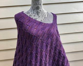 Hand Knit Poncho - Purple Poncho - Knitted Women Poncho - Boho Poncho - Bohemian Clothing  - Merino Wool Poncho - Women Purple Poncho