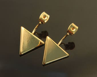 Triangle Back Stopper, T20-P2, 2 pcs, Triangle 13mm, Total length 25mm, 16K gold plated brass, Dangle Earring Back, Geometric Earring Making