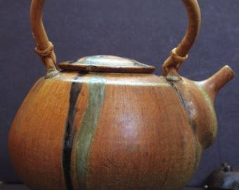 Studio Pottery Teapot (1960-1990): Artisan Stoneware Teapot with Bamboo Handle