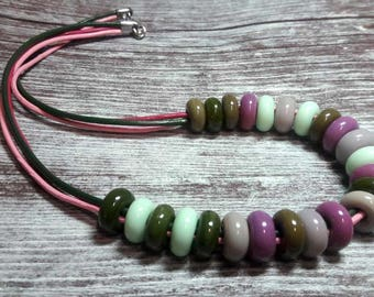 Lampwork Necklace Murano beads Lampwork glass beads handmade Lampwork Jewelry Lampwork bead leather cord Beads mint, pink, olive, green.