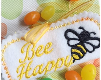 Bee Happy Candy Wrapper  Machine Embroidery design - Instant Download