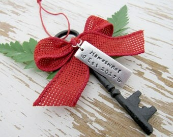 Homeowner Est. 2017 skeleton key ornament - housewarming - realtor - new house keepsake - house key first home - your color -  hand stamped