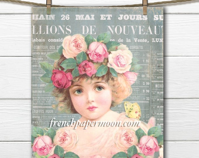 Printable Shabby French Flower Girl, French Ephemera, digital, French Newspaper, French Pillow Graphic Transfer, Large Size, Crafts