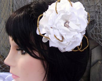 brooch corsage, brooch wedding hair, prom corsage, vintage fabric wrist corsage, gold hair fascinator, vintage brooch corsage,
