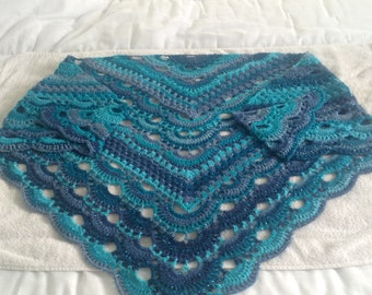 Gorgeous crochet granny meets virus ladies sparkly shawl /wrap