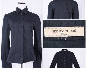 "Chloé ""See by Chloé"" Women's  Black Long Sleeved Button Up Blouse"