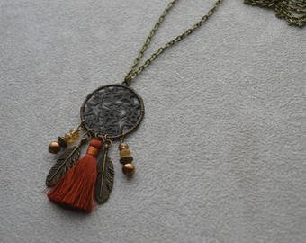 "Necklace ""Laira"" tassel, Czech glass, brass"