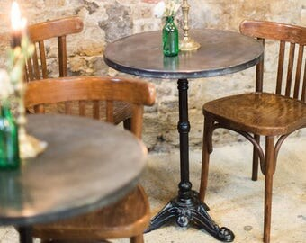 B I S T R O | Vintage Zinc Top Cafe Bistro Table French Style Iron Tripod Leg Riveted