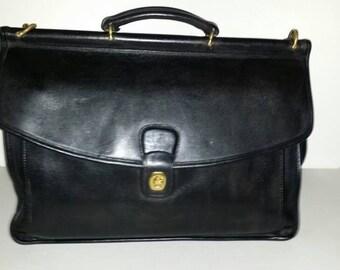 Vintage  Coach Black Leather  Briefcase   Detachable  Shoulder  Strap