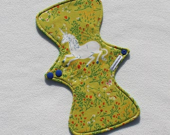 """Cotton Flannel Topped. Reusable Modern Cloth Pad featuring a unicorn print (26cm/10.25"""")"""