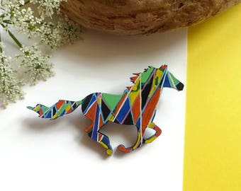 Horse Brooch, Horse Jewelry, Animal Brooch, Hand Painted Brooch, Running Horse, Equestrian Jewelry, Horse Lover Gift, Horse Gift, Horse Art