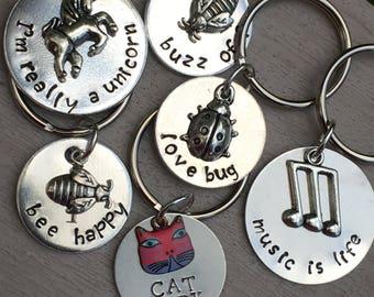 Custom Keychain, Personalized Keychain, Engraved Keychain, Small Gift, Unicorn Keychain, Cat Keychain - Music Keychain - Pet Lover Keychain