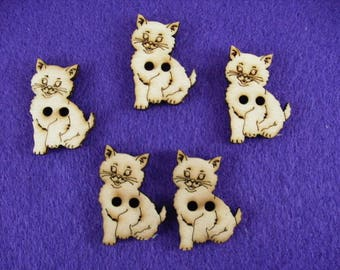 Buttons, wood, cat, 5 pieces, 3x2, 5 cm (15-0013A)